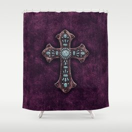 Purple and Turquoise Rustic Cross Shower Curtain