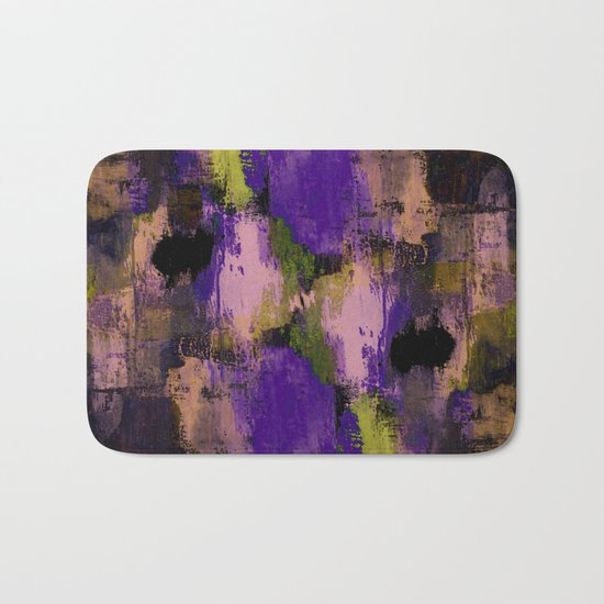 Abstract Nature - Textured, blue, yellow, pink, lilac, purple, black and orange painting Bath Mat