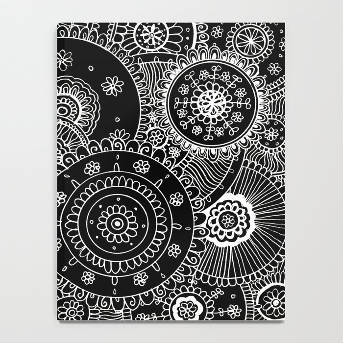 Lacy White Mandalas on Black Notebook
