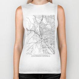 Colorado Springs Map White Biker Tank