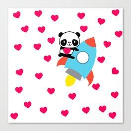 Rocketpanda in Love Canvas Print