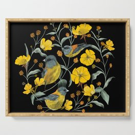 Yellow Birds & Flowers Serving Tray