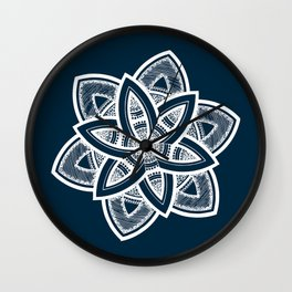 Authentic white mandala on blue Wall Clock