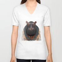 hippo V-neck T-shirts featuring Hippo by iacolarepierre