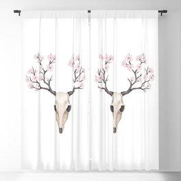 Blooming deer skull Blackout Curtain
