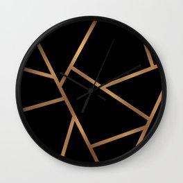 Black and Gold Fragments - Geometric Design Wall Clock