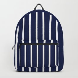Navy Blue and White Vertical Stripes Pattern Backpack