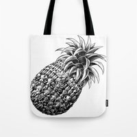 ornate Tote Bags featuring Ornate Pineapple by BIOWORKZ