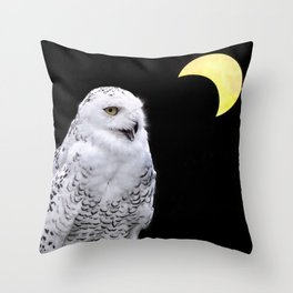 Snowy Owl Crescent Moon Photograph - Clarity in the Darkness Throw Pillow