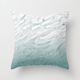 Calacatta Verde glitter gradient Throw Pillow