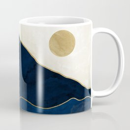 Mount Hood // Sapphire Blue Abstract Dream Oregon Gold Mountain Wilderness Forest Sun Landscape Coffee Mug
