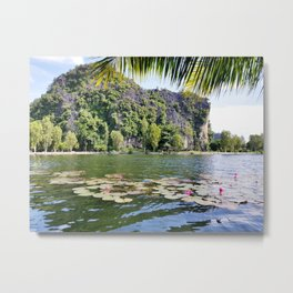 Water lilies in a pond next to Vietnam famous crust cliffs in Tam Coc Metal Print