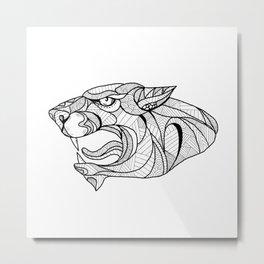Panther Head Zentagle Metal Print