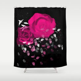 Vibrant Pink Roses On Black Background with Falling Petals Shower Curtain