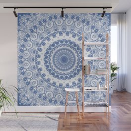 Blue and White Fractal Mandala Wall Mural