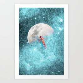 FLOATING TO THE MOON Art Print