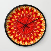 be happy Wall Clocks featuring HAPPY by Teresa Chipperfield Studios