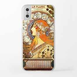 Alphonse Mucha La Plume Zodiac Clear iPhone Case