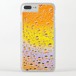 Colorful abstract wallpaper, waterdrops over multicolor background Clear iPhone Case