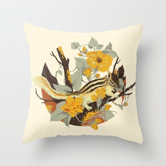 Chipmunk & Morning Glory Throw Pillow