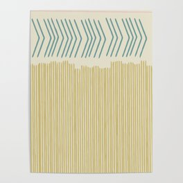 Hand drawn lines in Pink, Teal, and Mustard Poster