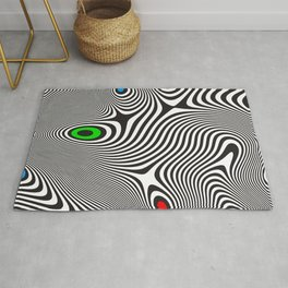 Black wavy lines color accents Rug