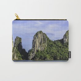 Four Limestone Cliffs Covered with Tropical Trees and Plants Rise from the Water of Halong Bay, Vietnam Carry-All Pouch