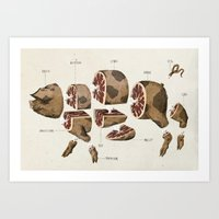 pig Art Prints featuring Pig by Simon Riviere