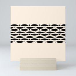 Midcentury Modern Minimalist Fish Stripe Pattern in Black and Almond Cream Mini Art Print