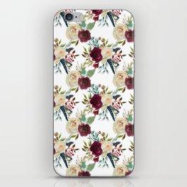 Burgundy ivory green watercolor boho floral pattern iPhone Skin