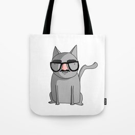Cat with Groucho Glasses Tote Bag
