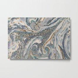 Metallic Paper Marble Metal Print