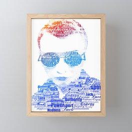 Portrait of a man text. Power, money, Sport, luck, sex, travel, adrenaline, luck, youth, enthusiasm. Framed Mini Art Print