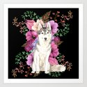Watercolor Dog Siberian Husky Floral Art by gardenofdelights