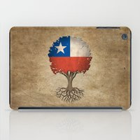 chile iPad Cases featuring Vintage Tree of Life with Flag of Chile by Jeff Bartels