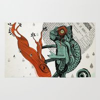 chameleon Area & Throw Rugs featuring CHAMELEON by taniavisual