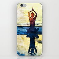 yoga iPhone & iPod Skins featuring yoga by Chantale Roger