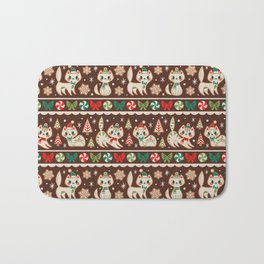 Striped Gingerbread Kitties (Brown) Bath Mat
