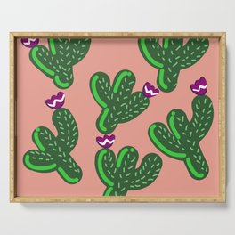 Prickly Cactus with Purple Flowers Serving Tray