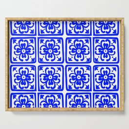 Blue Elegance Classic Tile Pattern Serving Tray