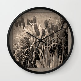 old timey tulips (square) Wall Clock