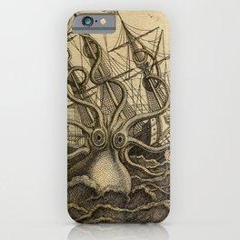 Vintage Kraken Giant Squid Sea Monster Ship iPhone Case