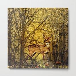 Golden Autumn Deer Metal Print