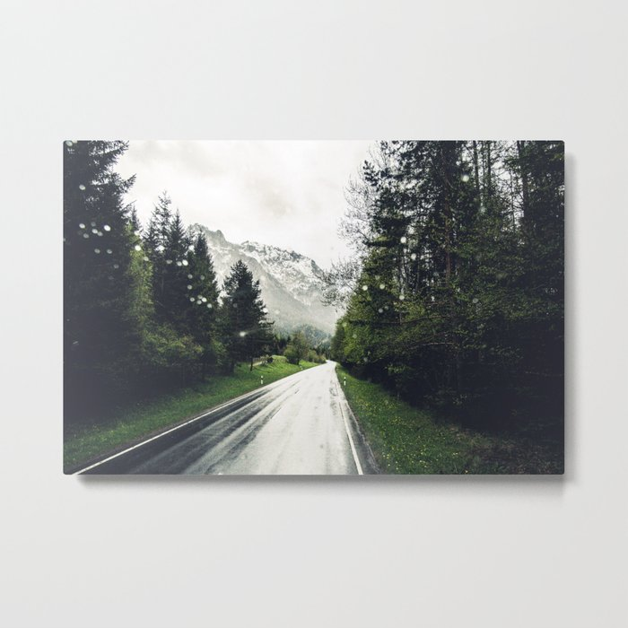 Down the Road - Mountains, Forest, Austria Metal Print