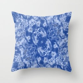 Light Blue and White Floral Fashion Design Throw Pillow