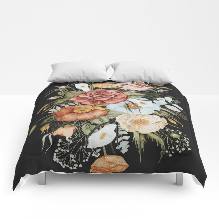 Roses and Poppies Bouquet on Charcoal Black Comforters