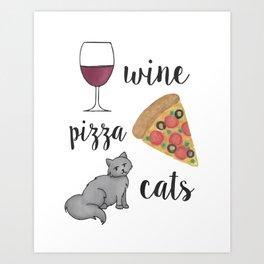 Wine Pizza Cats Art Print