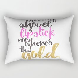 Girly Pink Gold Black Gold Digger Typography Rectangular Pillow