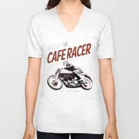 cafe racer V-neck T-shirts featuring Rise of the Cafe Racer II by RiseoftheCafeRacer