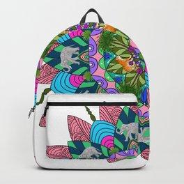 Mandala art ,tiger elephant pattern.Pink Backpack